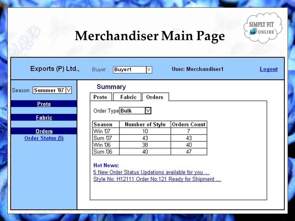 Merchandiser Main Page