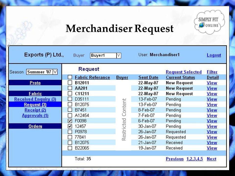 Merchandiser Request Restricted Content