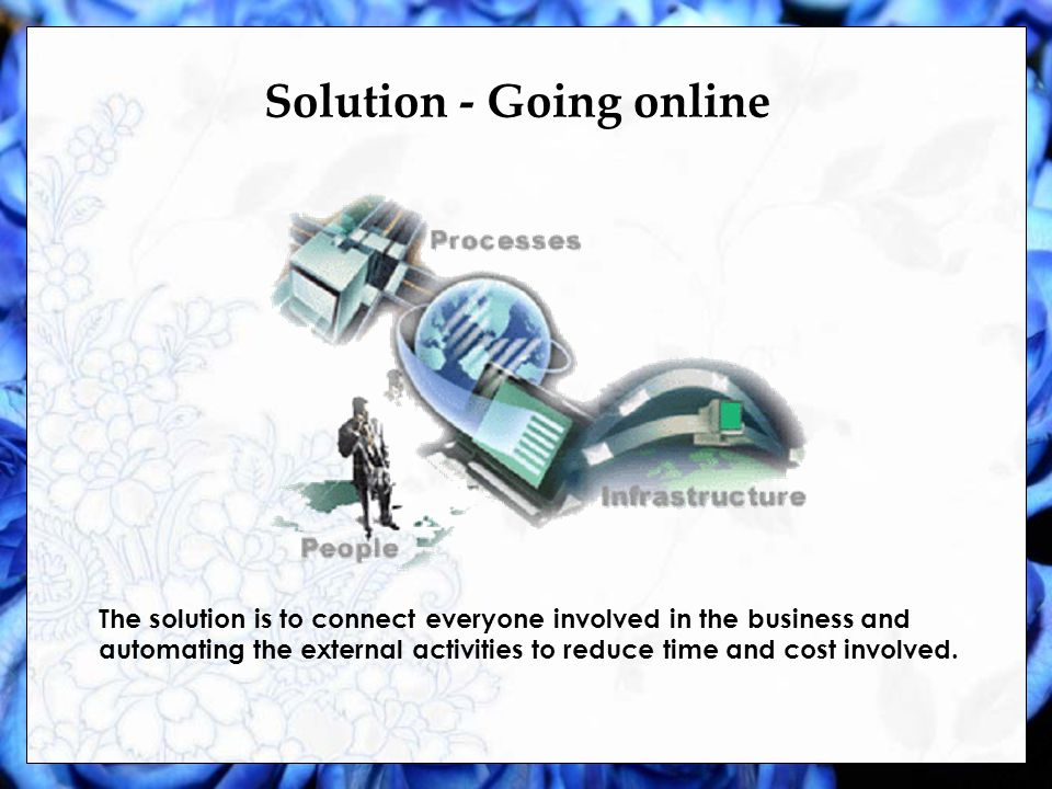 Solution - Going online The solution is to connect everyone involved in the business and automating the external activities to reduce time and cost involved.