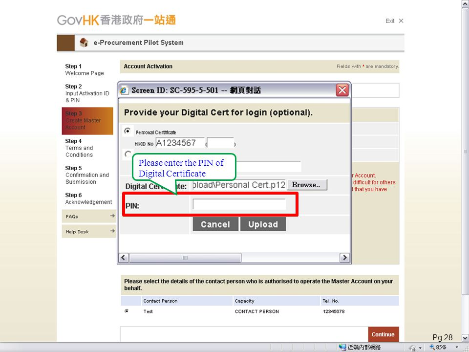 Please enter the PIN of Digital Certificate Pg.28