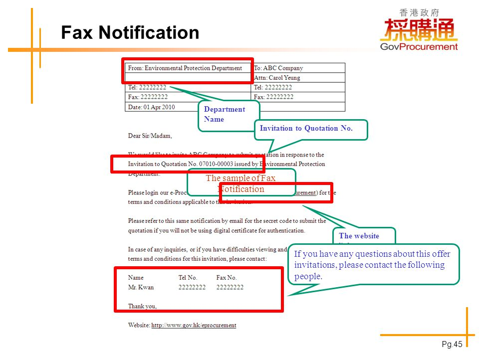 Fax Notification The sample of Fax Notification Department Name The website link If you have any questions about this offer invitations, please contac