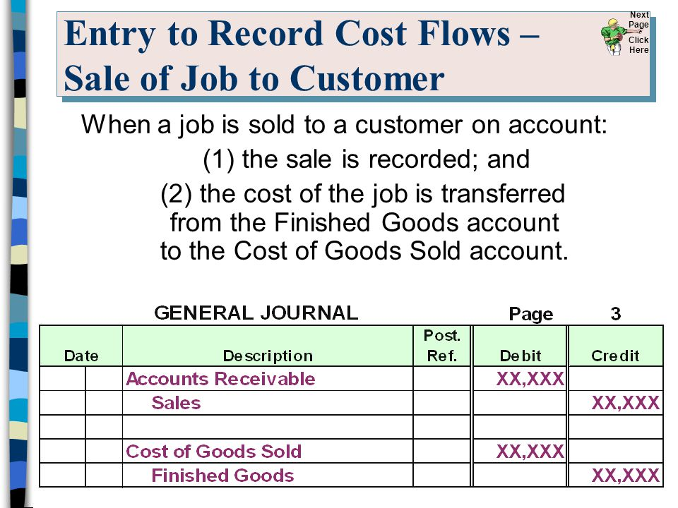 Entry to Record Cost Flows – Sale of Job to Customer When a job is sold to a customer on account: (1) the sale is recorded; and (2) the cost of the jo