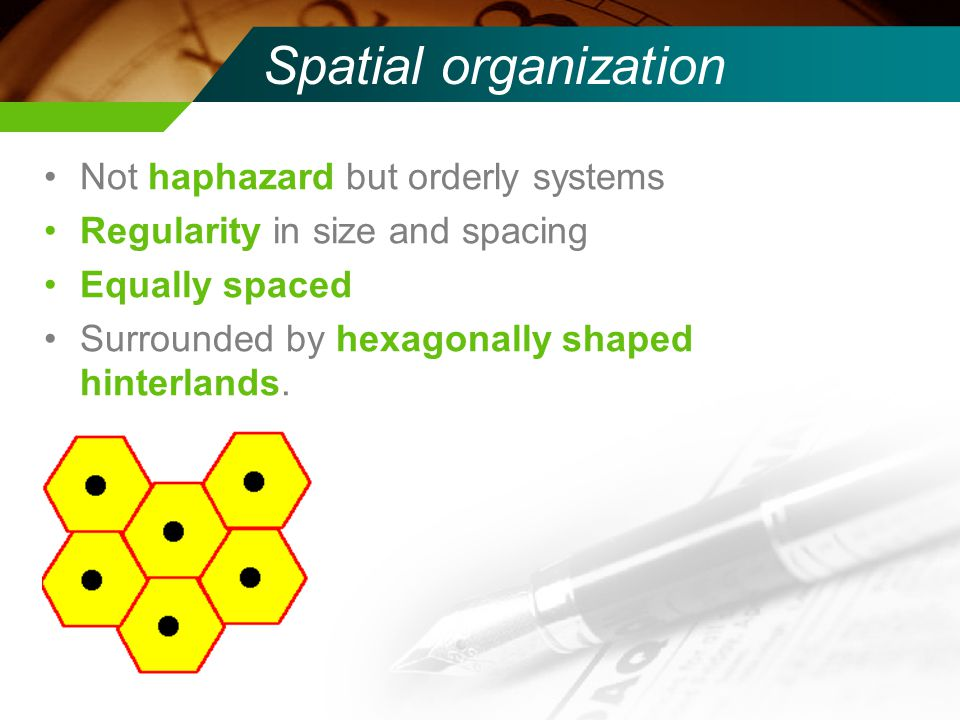 Spatial organization Not haphazard but orderly systems Regularity in size and spacing Equally spaced Surrounded by hexagonally shaped hinterlands.