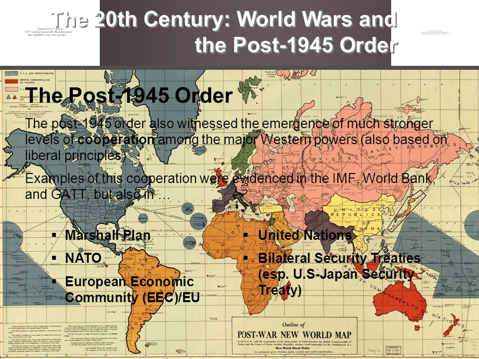 The Post-1945 Order The post-1945 order also witnessed the emergence of much stronger levels of cooperation among the major Western powers (also based