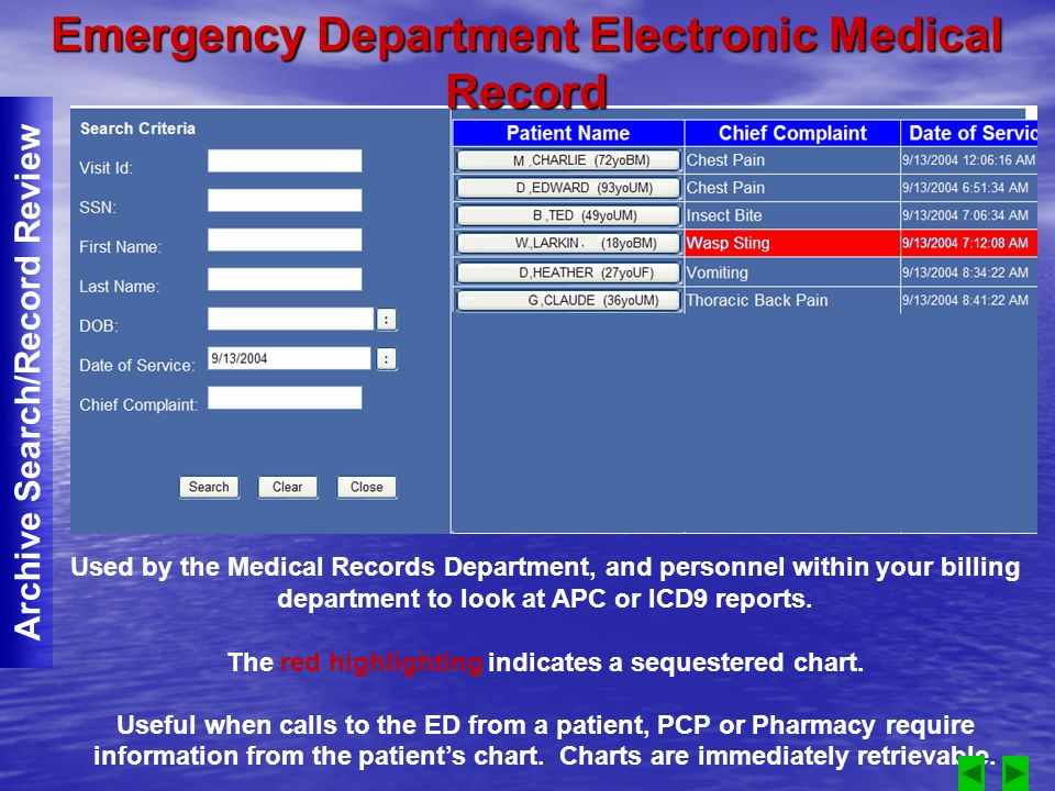 Used by the Medical Records Department, and personnel within your billing department to look at APC or ICD9 reports.