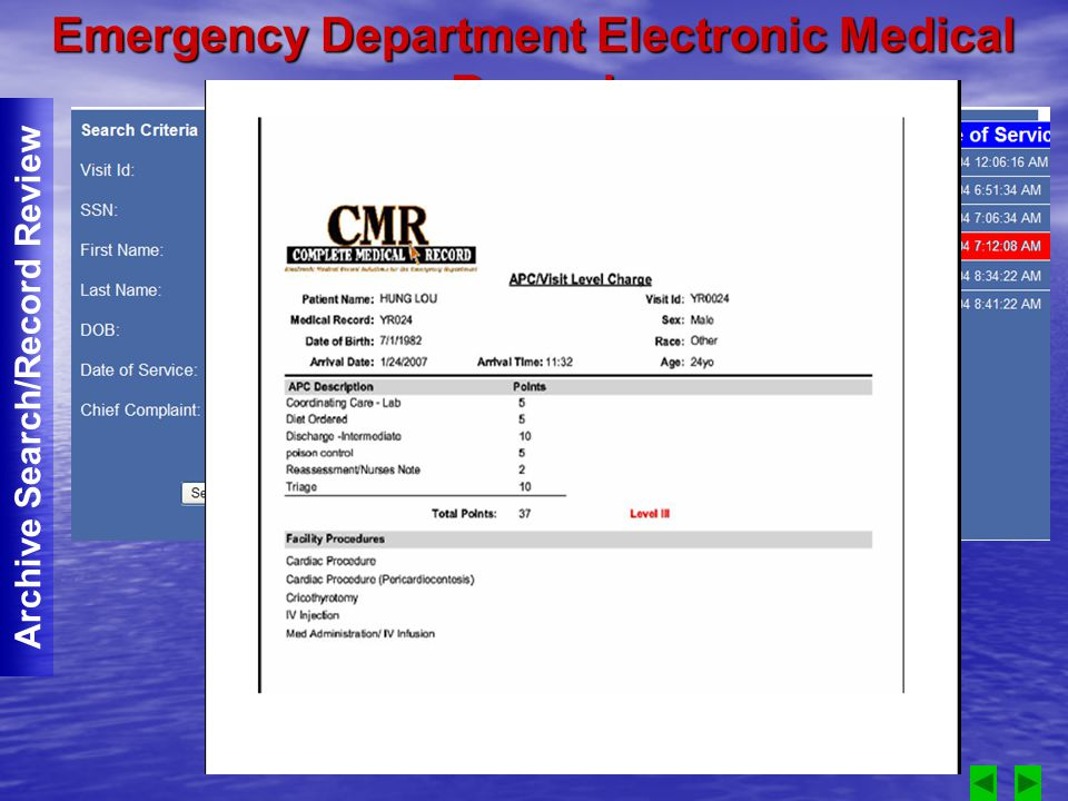 Emergency Department Electronic Medical Record Archive Search/Record Review