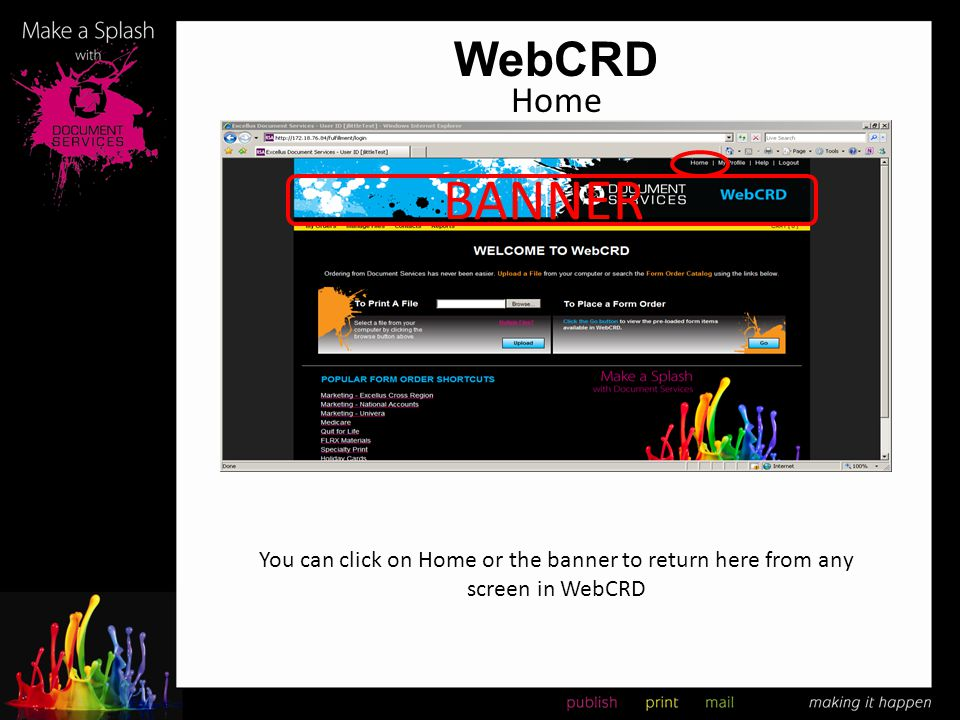 WebCRD To Print A File Once the files are uploaded you will be at the order screen You can name the order for ease of identification when viewing My Orders Navigate through the tabs to make specifications for your documents to be produced Each tab has a special instruction field that can be used to enter information Once you have finished you can Continue Shopping or Place order