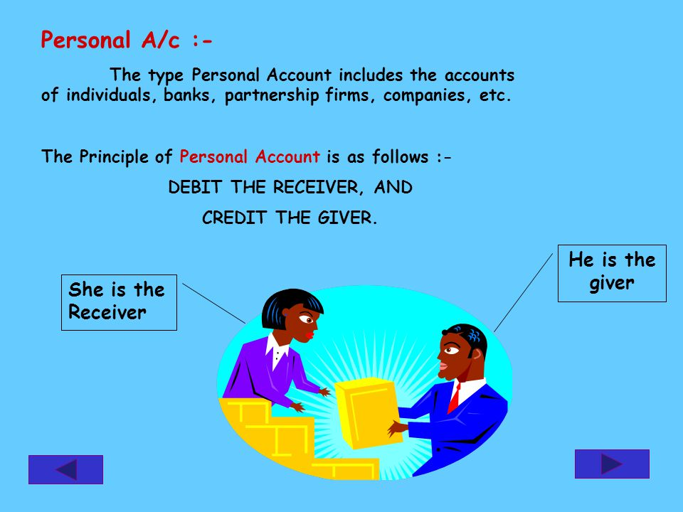 Personal A/c :- The type Personal Account includes the accounts of individuals, banks, partnership firms, companies, etc. The Principle of Personal Ac