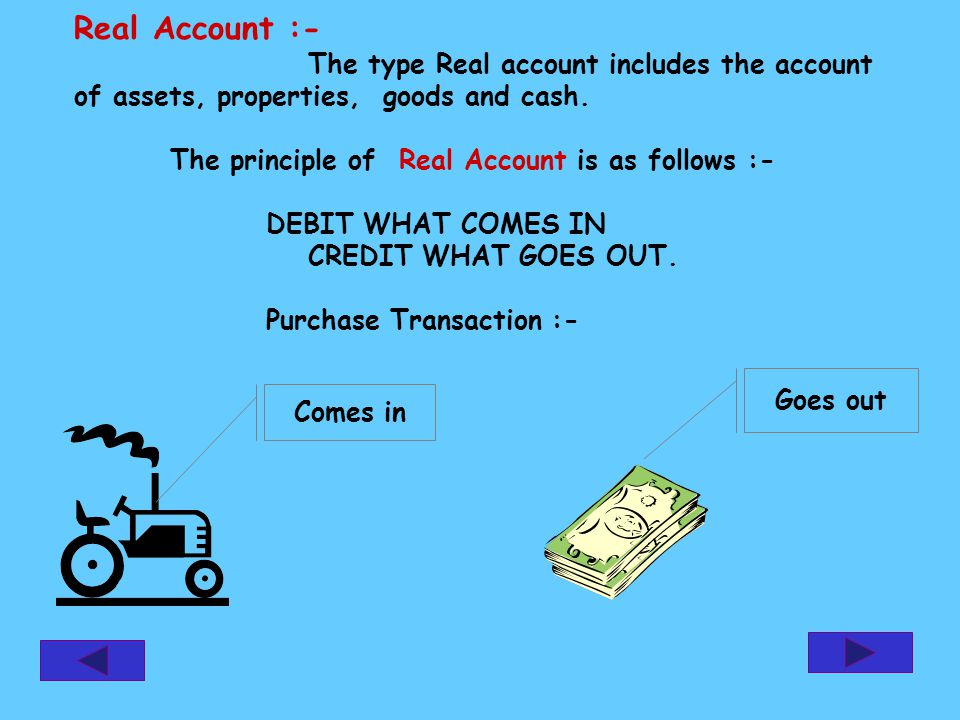 Real Account :- The type Real account includes the account of assets, properties, goods and cash. The principle of Real Account is as follows :- DEBIT