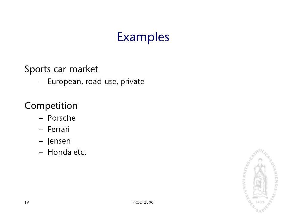 PROD 280019 Examples Sports car market – European, road-use, private Competition – Porsche – Ferrari – Jensen – Honda etc.