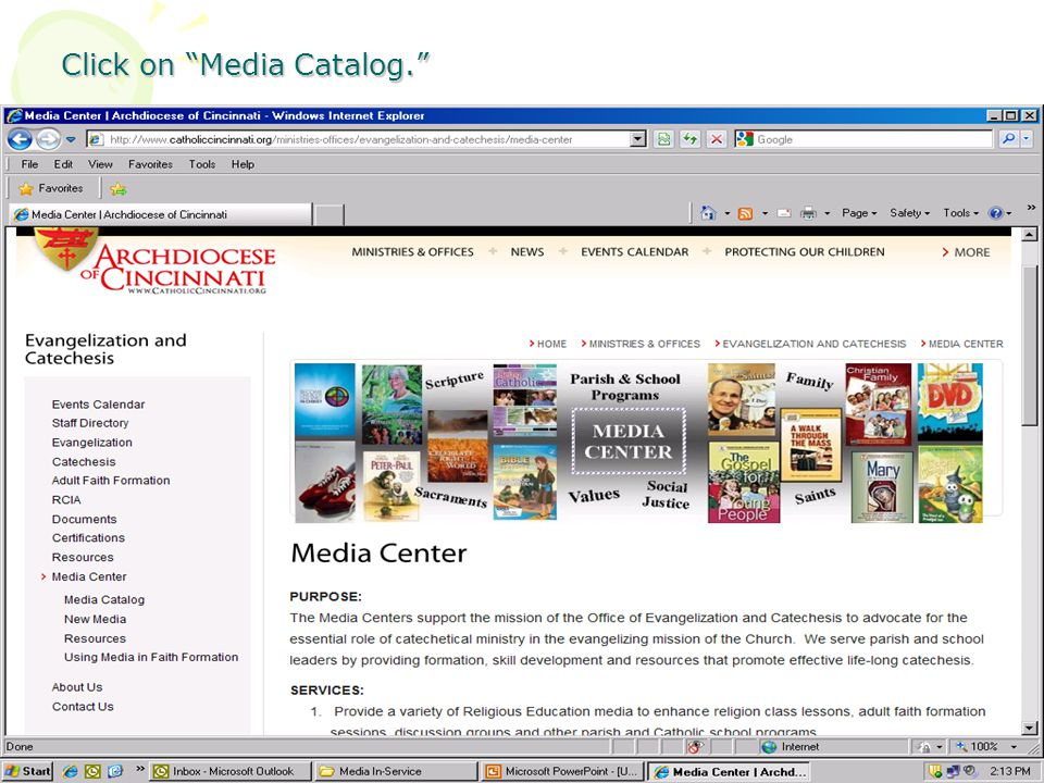 Click on Media Catalog.