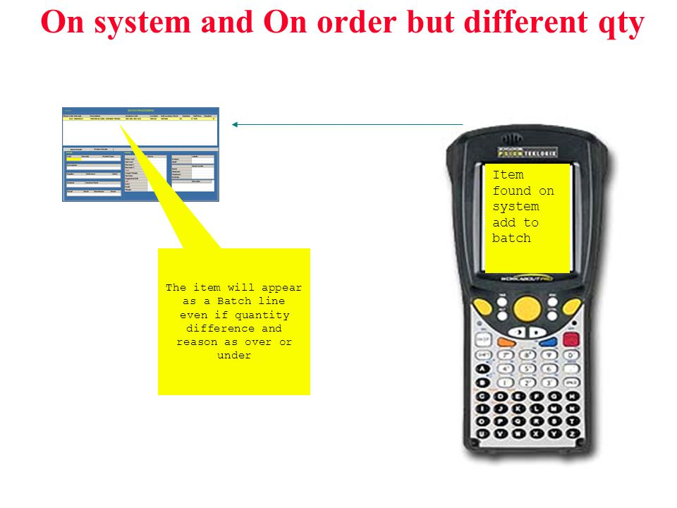 On system and On order but different qty Item found on system add to batch The item will appear as a Batch line even if quantity difference and reason