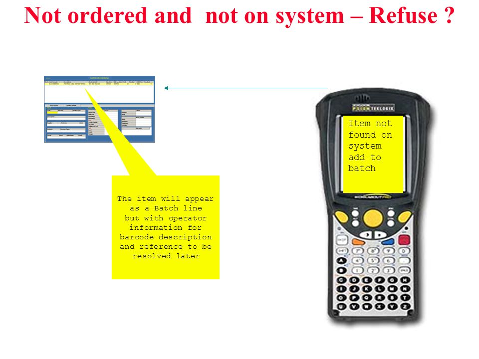 Not ordered and not on system – Refuse ? Item not found on system add to batch The item will appear as a Batch line but with operator information for
