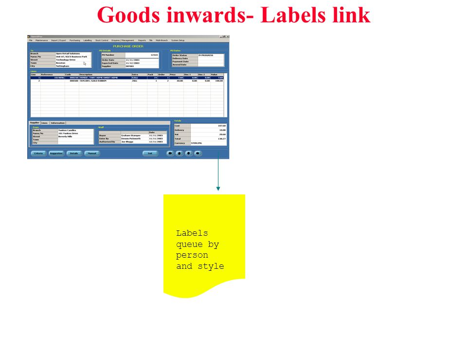 Goods inwards- Labels link Labels queue by person and style
