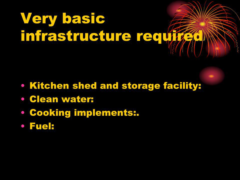 Very basic infrastructure required Kitchen shed and storage facility: Clean water: Cooking implements:. Fuel: