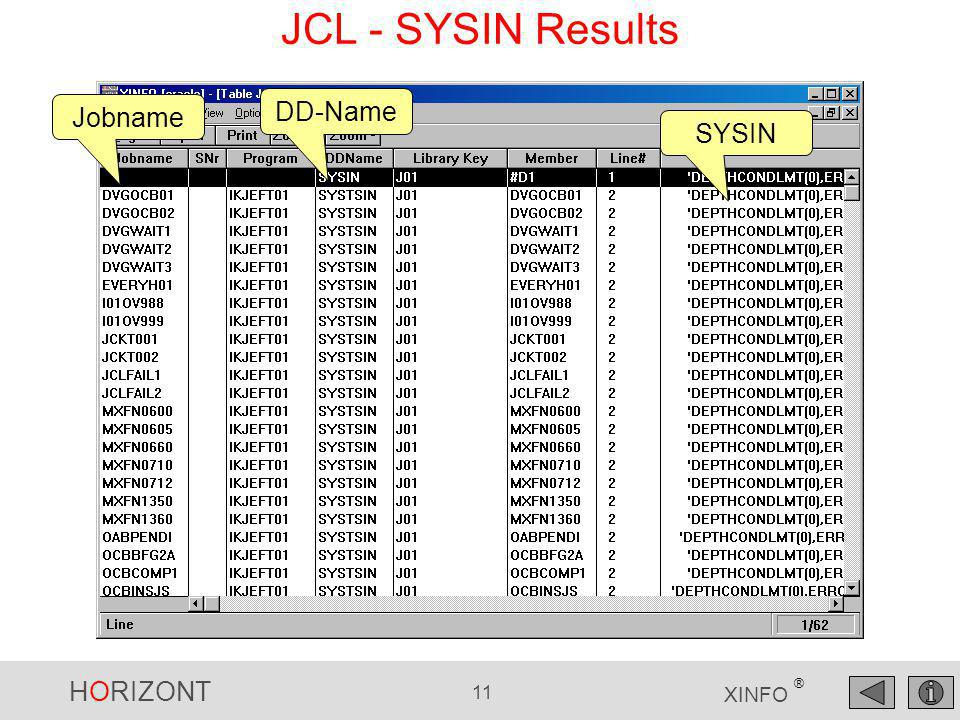 HORIZONT 11 XINFO ® Jobname DD-Name SYSIN JCL - SYSIN Results