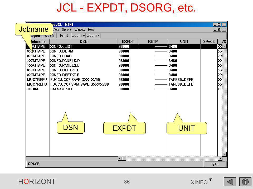 HORIZONT 36 XINFO ® Jobname UNIT DSN EXPDT JCL - EXPDT, DSORG, etc.
