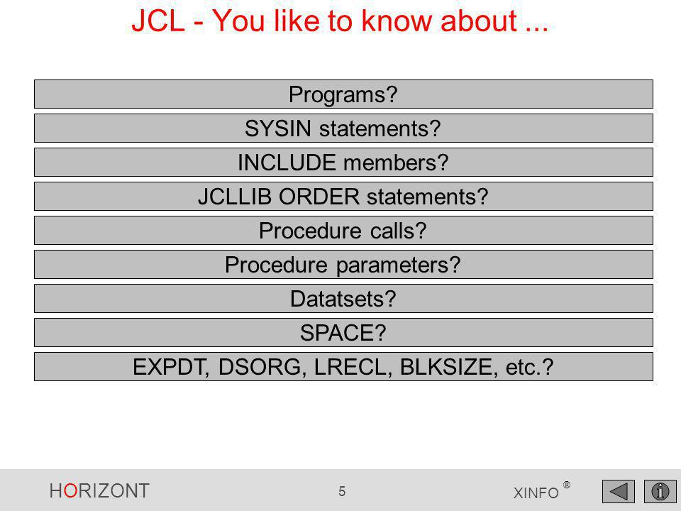 HORIZONT 5 XINFO ® JCL - You like to know about... Programs? SYSIN statements? INCLUDE members? JCLLIB ORDER statements? Procedure calls? Procedure pa
