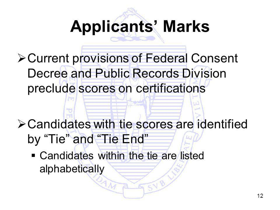 12 Applicants Marks Current provisions of Federal Consent Decree and Public Records Division preclude scores on certifications Candidates with tie scores are identified by Tie and Tie End Candidates within the tie are listed alphabetically