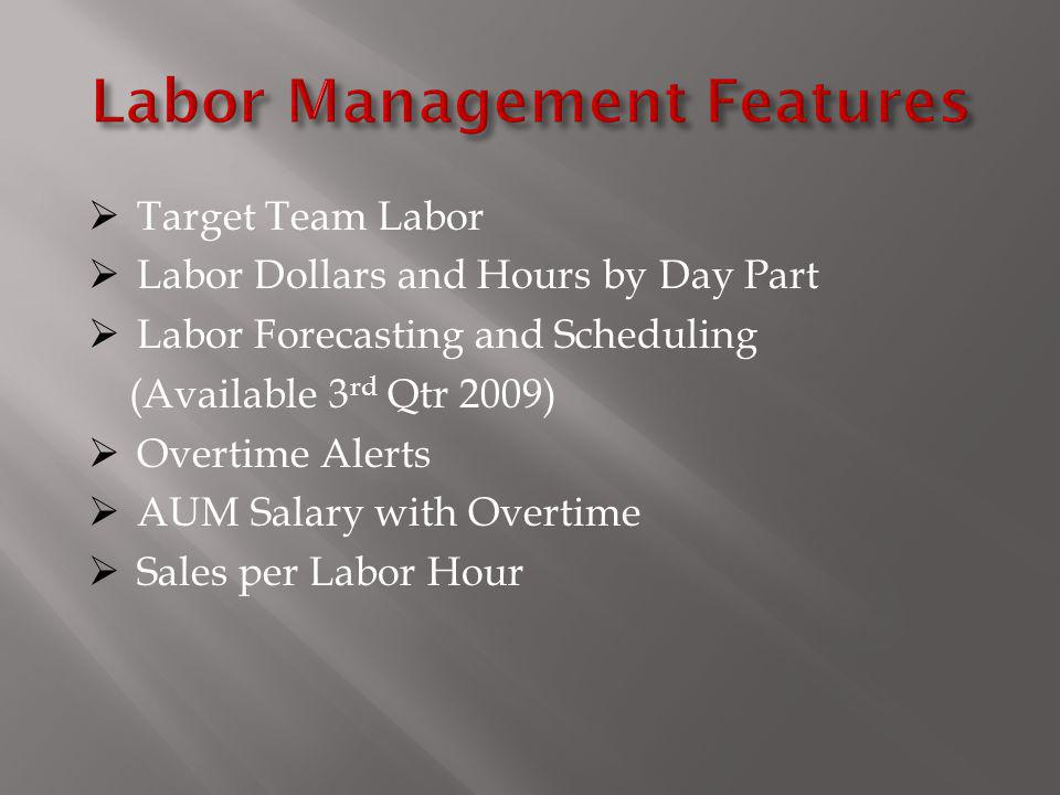Target Team Labor Labor Dollars and Hours by Day Part Labor Forecasting and Scheduling (Available 3 rd Qtr 2009) Overtime Alerts AUM Salary with Overt