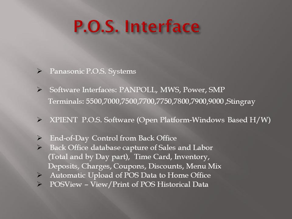 Panasonic P.O.S. Systems Software Interfaces: PANPOLL, MWS, Power, SMP Terminals: 5500,7000,7500,7700,7750,7800,7900,9000,Stingray XPIENT P.O.S. Softw