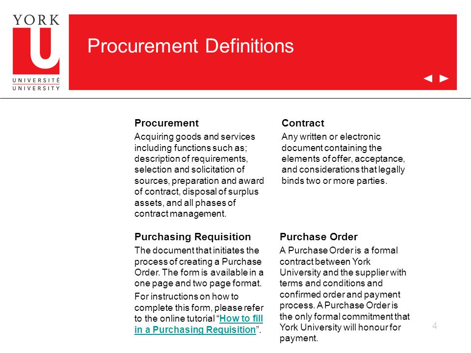 4 Procurement Definitions Procurement Acquiring goods and services including functions such as; description of requirements, selection and solicitation of sources, preparation and award of contract, disposal of surplus assets, and all phases of contract management.