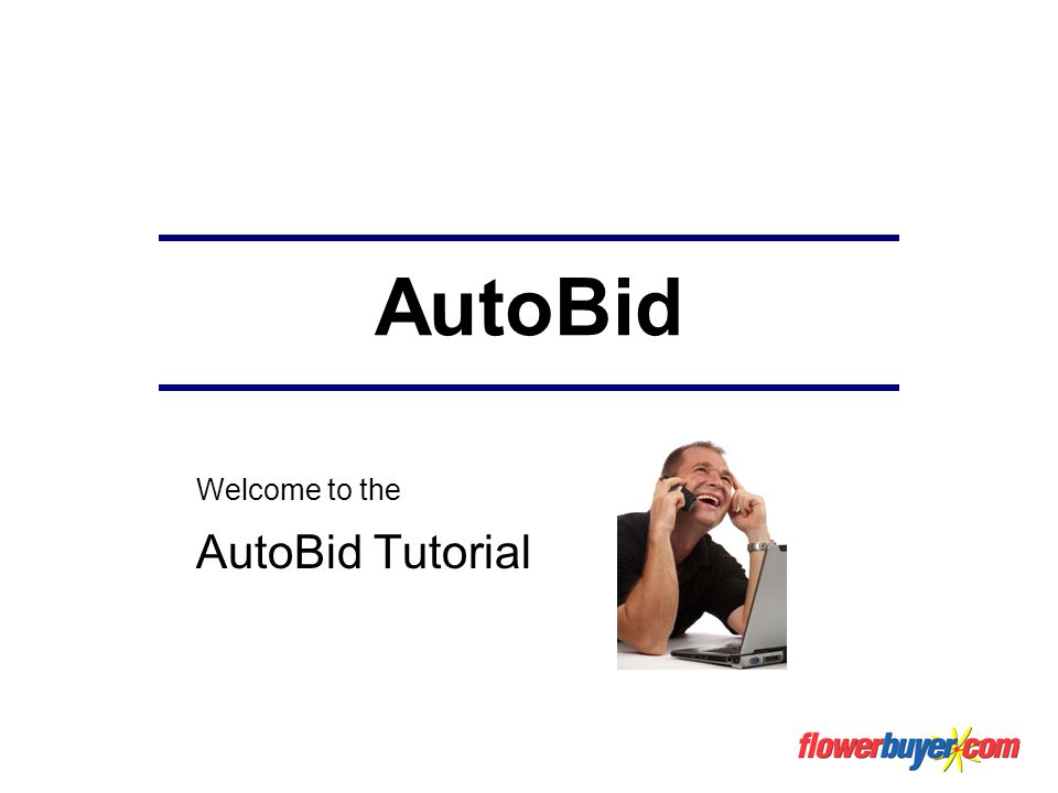 AutoBid Welcome to the AutoBid Tutorial