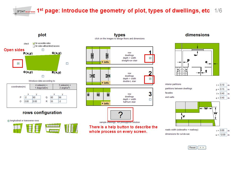 1 st page: Introduce the geometry of plot, types of dwellings, etc There is a help button to describe the whole process on every screen.