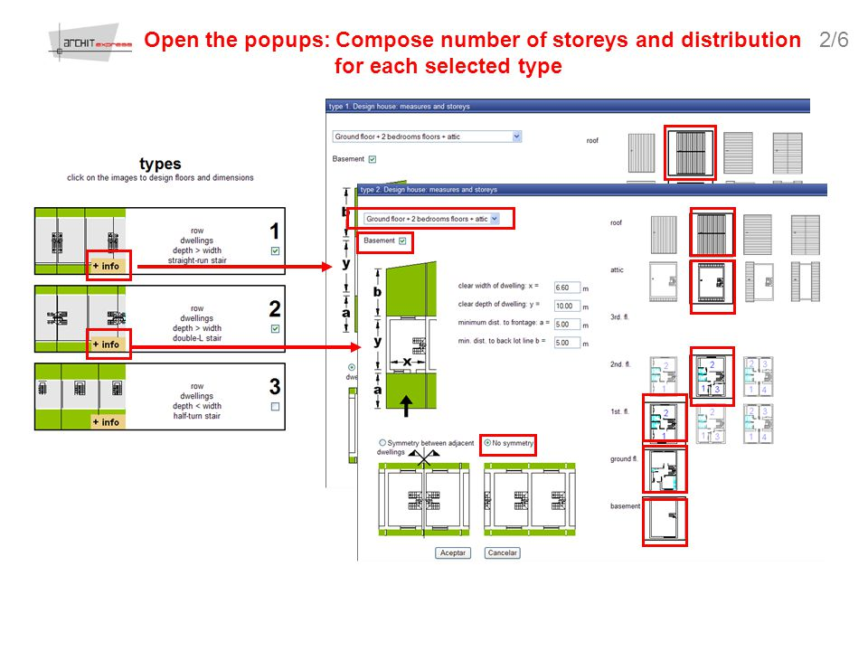 Open the popups: Compose number of storeys and distribution for each selected type 2/6
