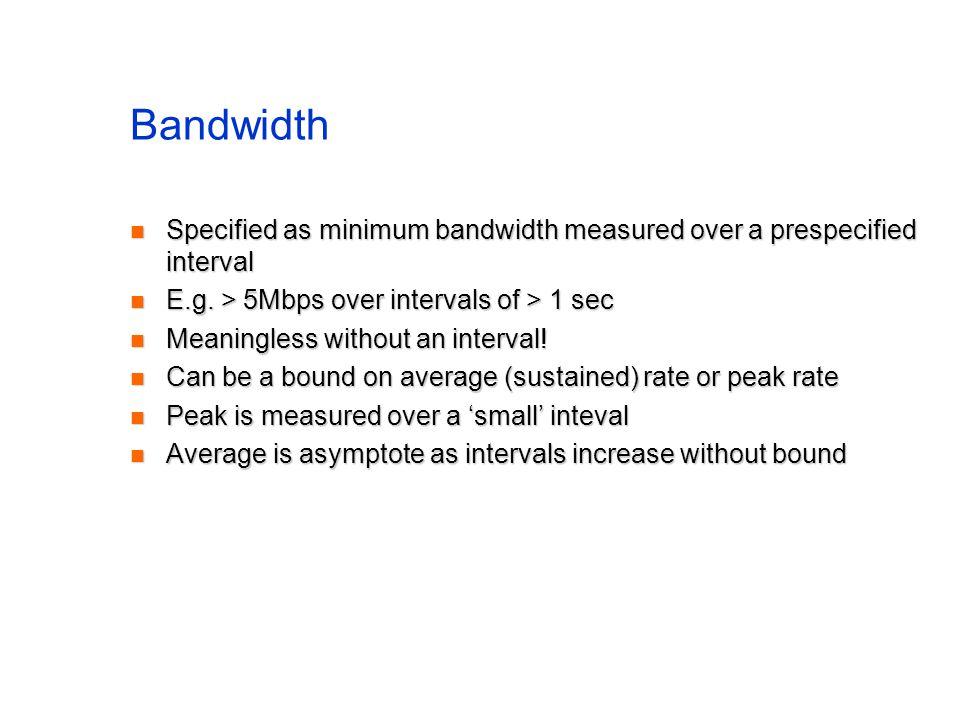 Bandwidth Specified as minimum bandwidth measured over a prespecified interval Specified as minimum bandwidth measured over a prespecified interval E.g.