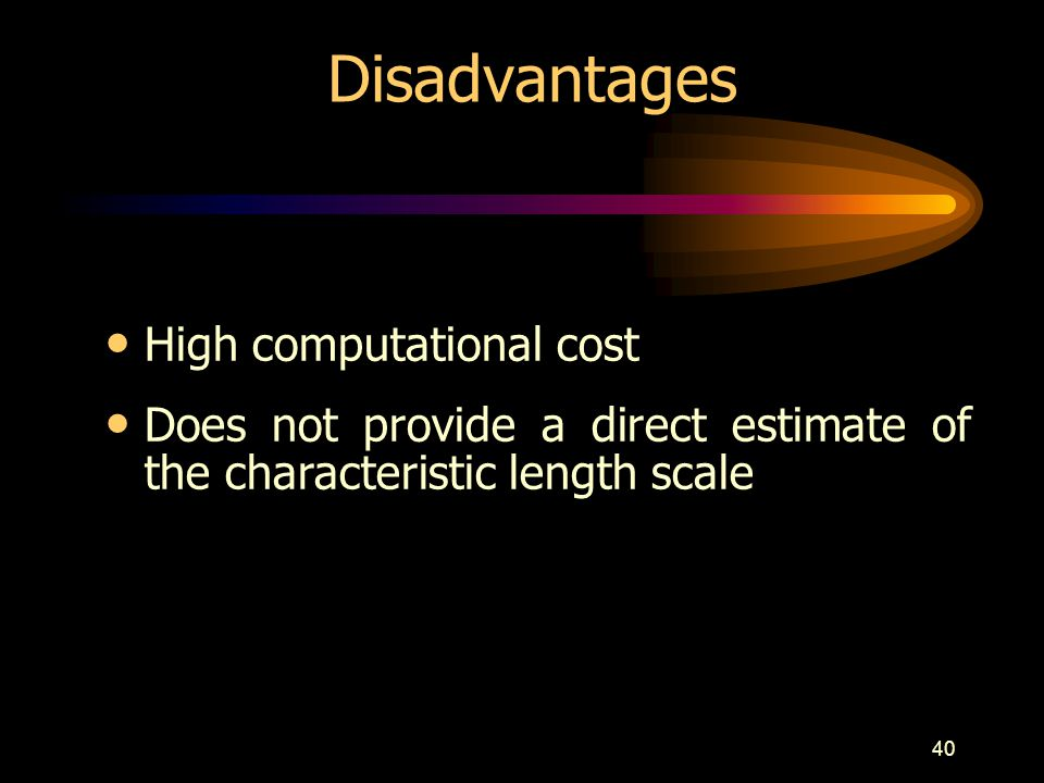 40 Disadvantages High computational cost Does not provide a direct estimate of the characteristic length scale