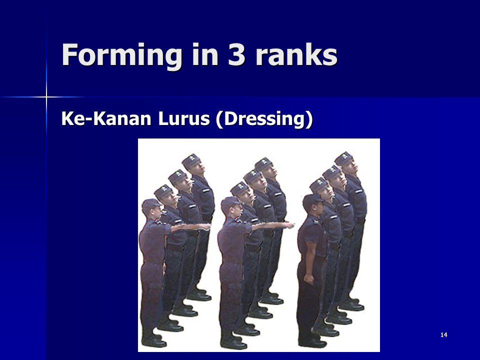 14 Forming in 3 ranks Ke-Kanan Lurus (Dressing)