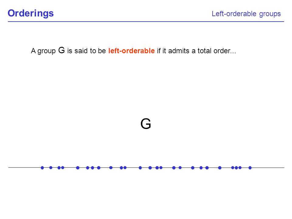 A group G is said to be left-orderable if it admits a total order...