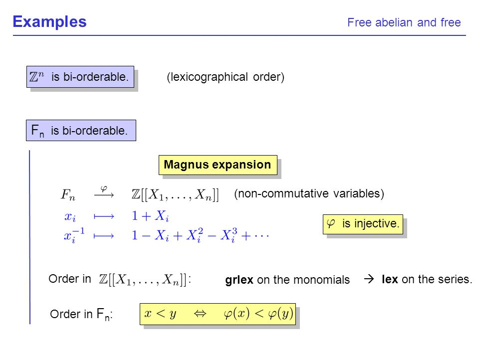 Examples (lexicographical order) F n is bi-orderable. is bi-orderable. Magnus expansion (non-commutative variables) Order in : grlex on the monomials