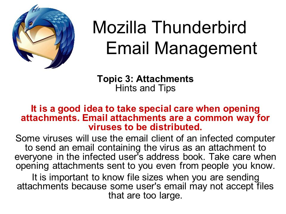 Mozilla Thunderbird Email Management Topic 3: Attachments Hints and Tips It is a good idea to take special care when opening attachments.