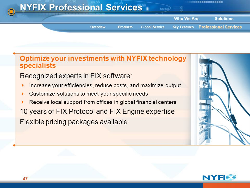 Who We AreSolutions 47 Optimize your investments with NYFIX technology specialists Recognized experts in FIX software: Increase your efficiencies, red