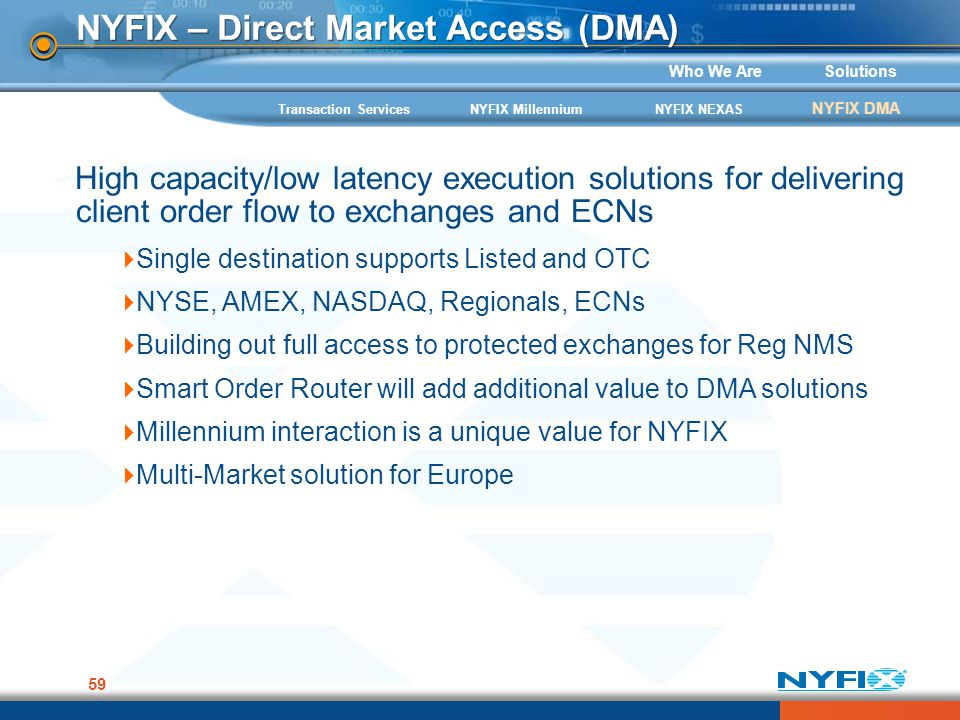 Who We AreSolutions 59 NYFIX – Direct Market Access (DMA) High capacity/low latency execution solutions for delivering client order flow to exchanges