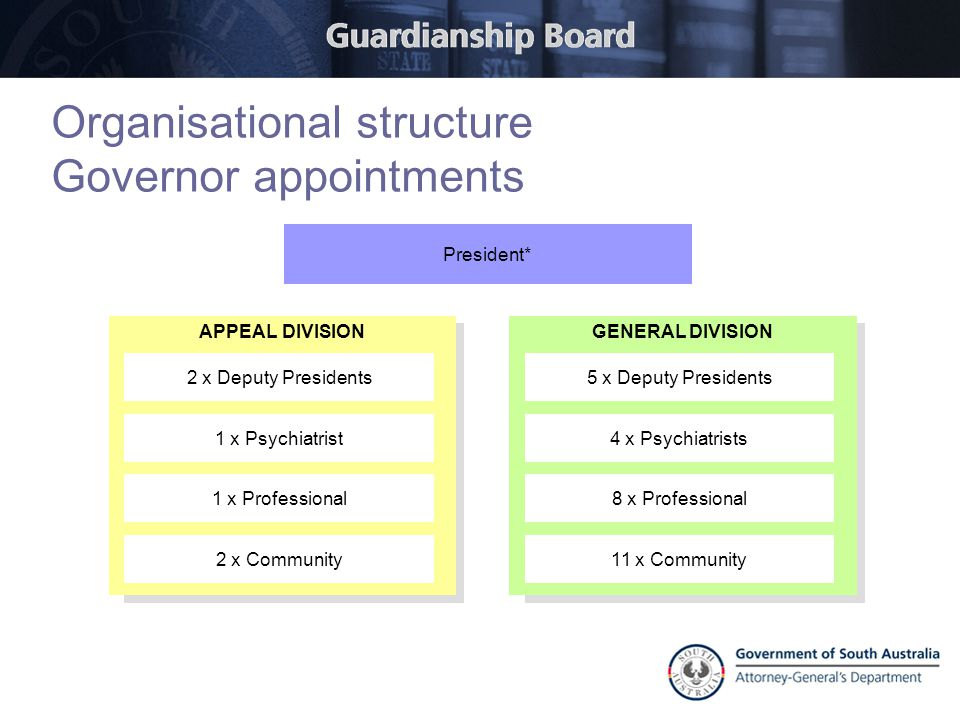 Organisational structure Governor appointments APPEAL DIVISION 2 x Deputy Presidents 1 x Psychiatrist 1 x Professional 2 x Community President* GENERA