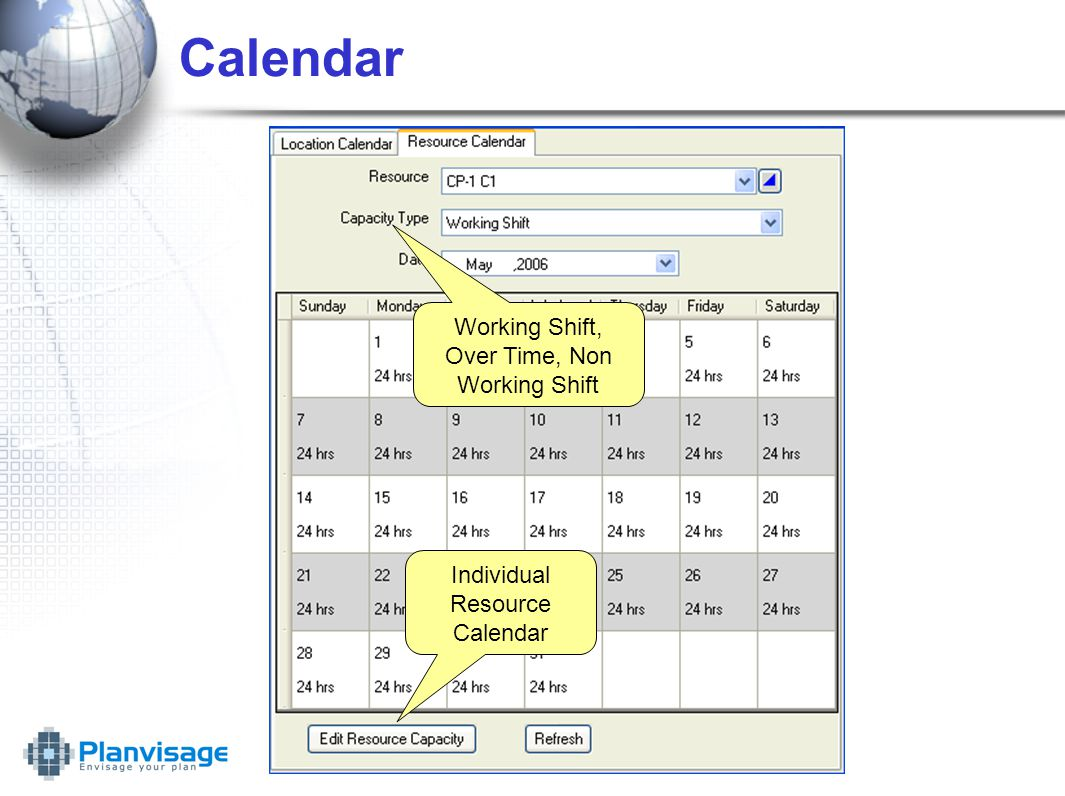 Calendar Individual Resource Calendar Working Shift, Over Time, Non Working Shift