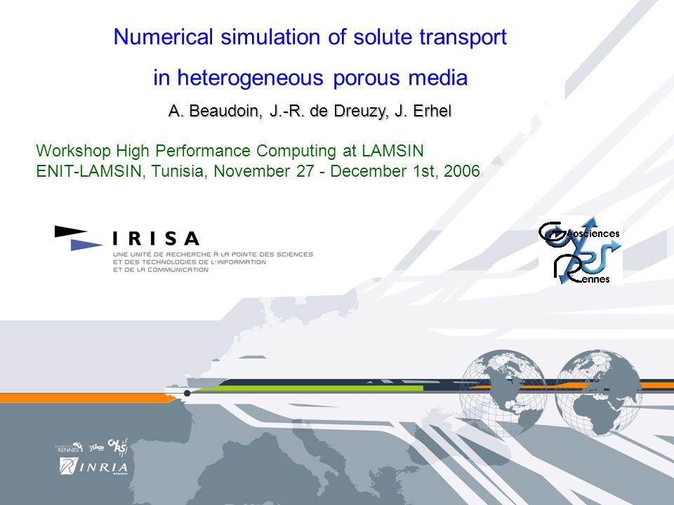 Numerical simulation of solute transport in heterogeneous porous media A.