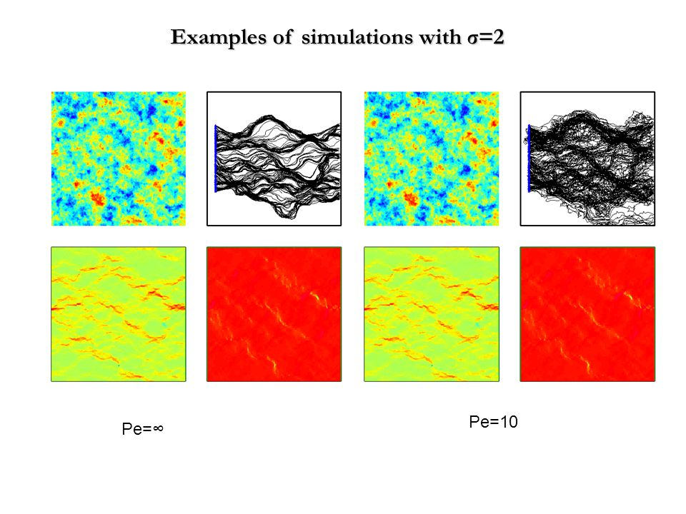 Examples of simulations with σ=2 Pe= Pe=10