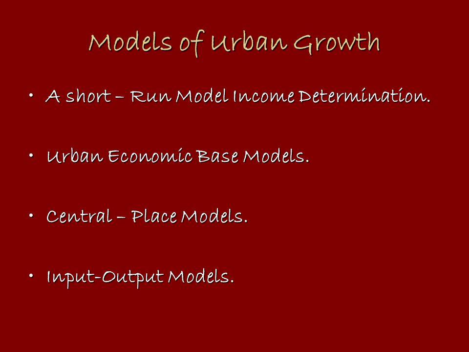 Models of Urban Growth A short – Run Model Income Determination.A short – Run Model Income Determination.