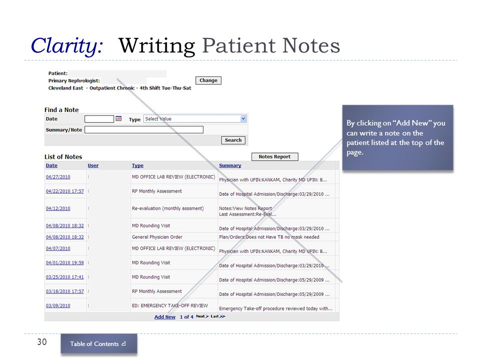 Table of Contents Clarity: Writing Patient Notes 30 By clicking on Add New you can write a note on the patient listed at the top of the page.