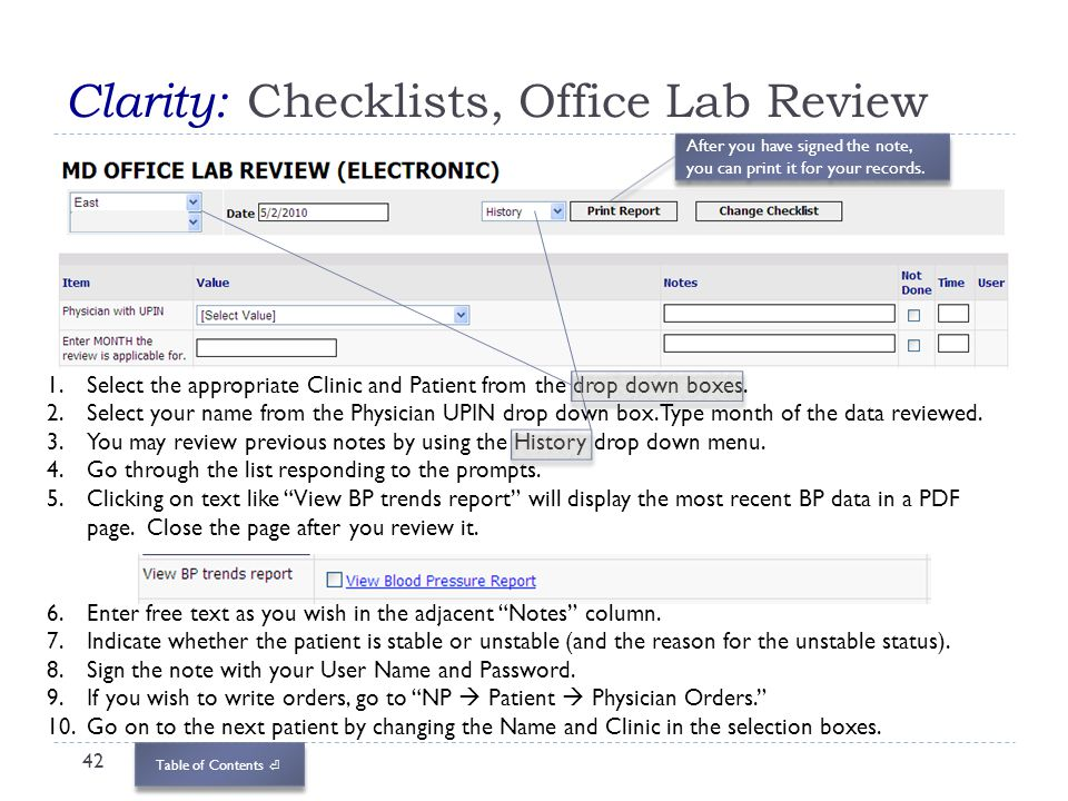 Table of Contents Clarity: Checklists, Office Lab Review 42 1.Select the appropriate Clinic and Patient from the drop down boxes. 2.Select your name f