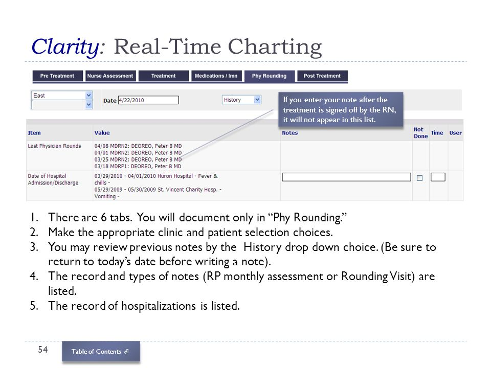 Table of Contents Clarity: Real-Time Charting 54 1.There are 6 tabs. You will document only in Phy Rounding. 2.Make the appropriate clinic and patient