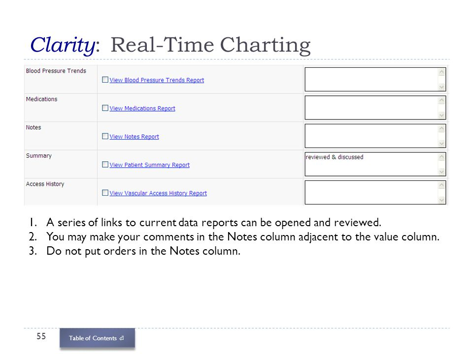 Table of Contents Clarity : Real-Time Charting 55 1.A series of links to current data reports can be opened and reviewed. 2.You may make your comments