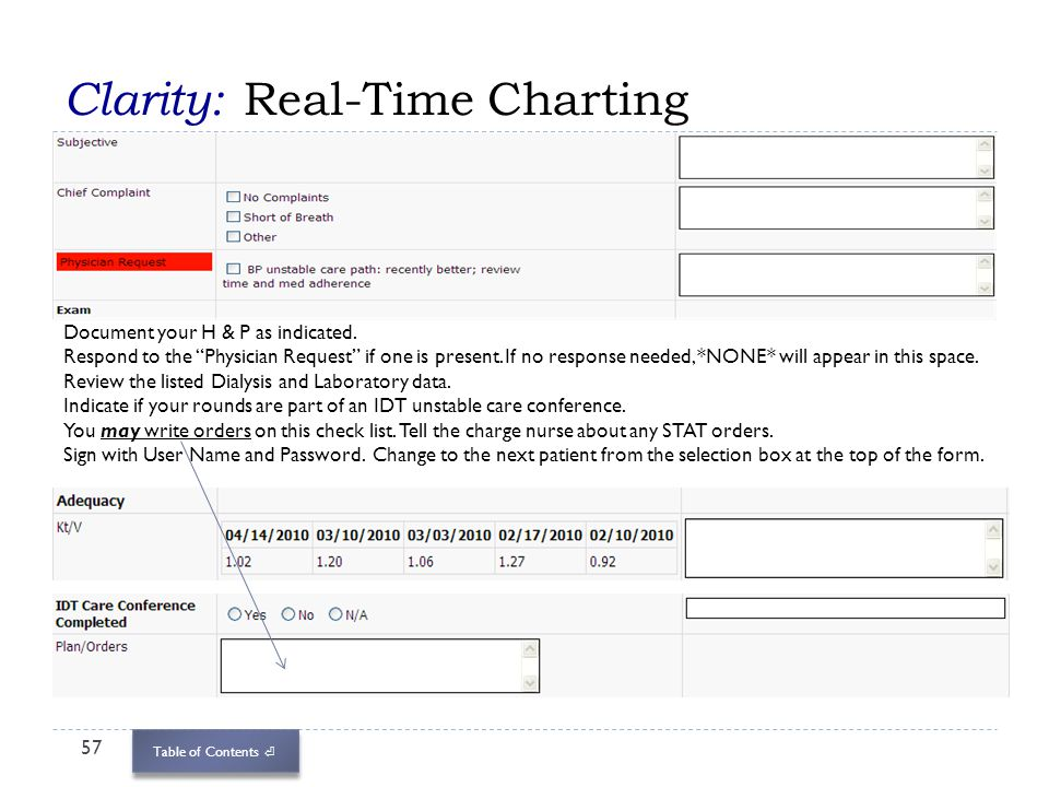 Table of Contents Clarity: Real-Time Charting 57 Document your H & P as indicated. Respond to the Physician Request if one is present. If no response