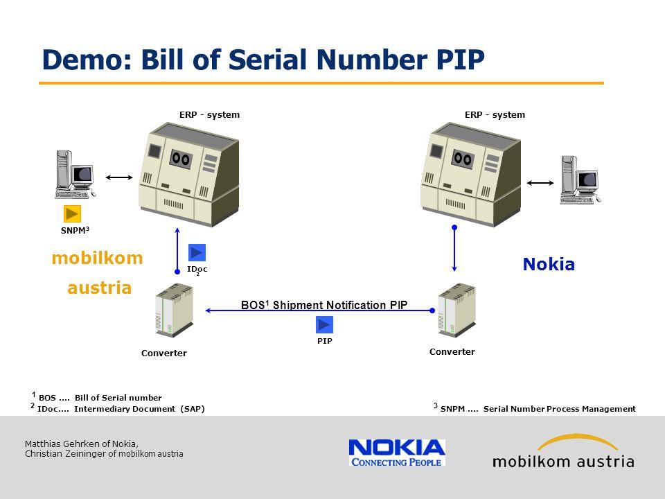 Matthias Gehrken of Nokia, Christian Zeininger of mobilkom austria Demo: Bill of Serial Number PIP BOS 1 Shipment Notification PIP Converter mobilkom