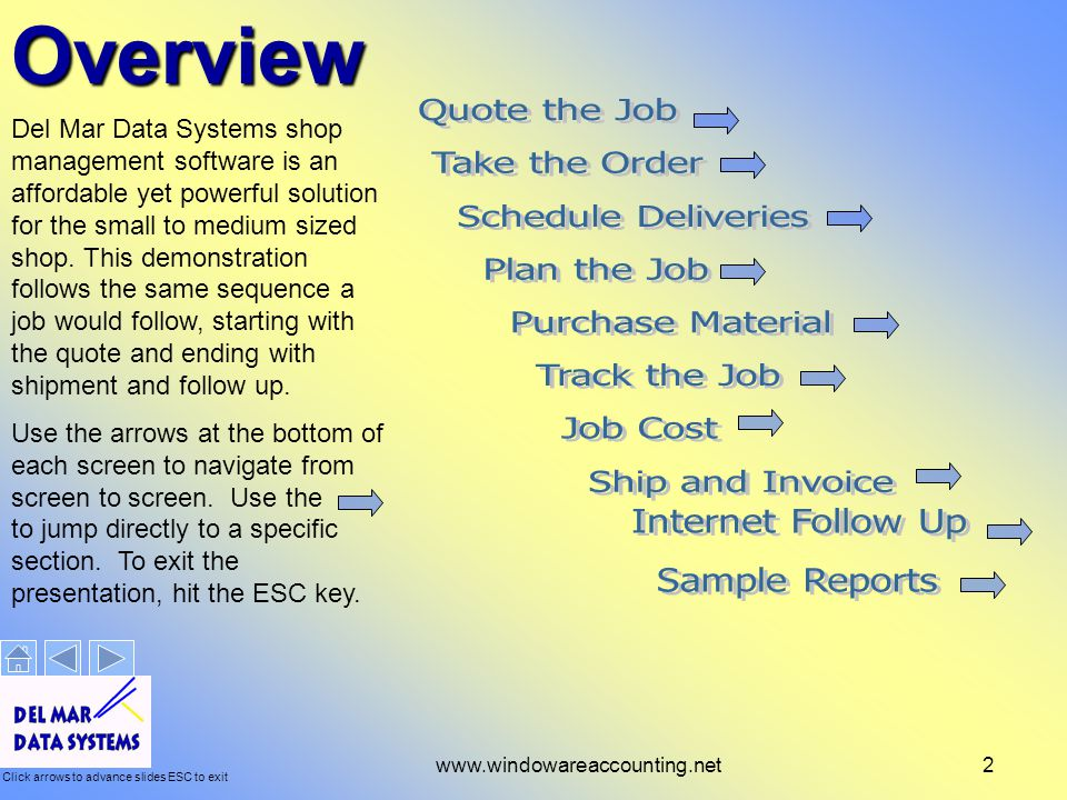 Click arrows to advance slides ESC to exit www.windowareaccounting.net2Overview Del Mar Data Systems shop management software is an affordable yet powerful solution for the small to medium sized shop.