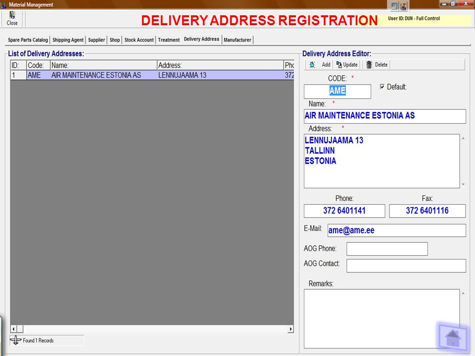 DELIVERY ADDRESS REGISTRATION